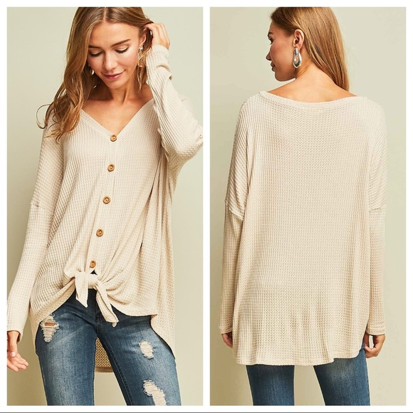 93f8219328d35 Oatmeal Waffle Knit Front Knot Long Sleeve Thermal